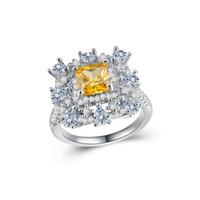 белое золото желтый топаз кольцо оптовых-Роскошные белое золото заполненные обручальное кольцо вечности площадь желтый топаз Cz палец кольца для женщин ювелирные изделия подарок размер 6-10