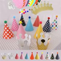 Wholesale character children sets for sale - Cartoon DIY Happy Birthday Kids Cap Party Hats Set Decoration Hair Ball Children Crown Trigonometric Caps Festive Supplies qp bb