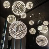 Wholesale spark light for sale - Modern Brief Spark Ball LED Chandelier Pendant Light fixture Firework Ball stainless steel pendant Lamps Home Deco Lighting V