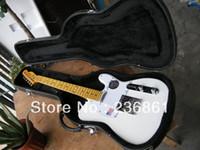 белые гитарные струны оптовых-Бесплатная доставка новый стиль 6 строка Telecaster Белый электрогитара с жесткий чехол