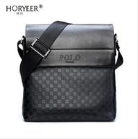 çanta teklifleri toptan satış-HORYEER sacoche homme özel teklif deri messenger çanta moda erkekler iş crossbody çanta marka POLO Omuz evrak çantası B
