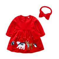 ingrosso cervi di abbigliamento della neonata-2018 New Baby Girl Xmas Red Dress Bambini Primavera Autunno Abbigliamento Manica lunga Deer Design degli animali Gonna di velluto vestiti di Capodanno con fascia