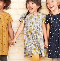 vestidos cortos de la muchacha de flor del niño al por mayor-ropa de verano de los niños de manga corta vestidos de flores para niñas de algodón 18Month-6Years ropa de niño de alta calidad para niños vestido de venta al por mayor