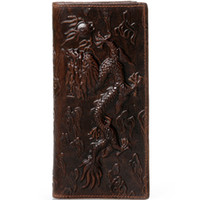Wholesale dragon cards online - Vintage Bifold Dragon D Embossing Oil Genuine Leather Wallet Purse Money Clip Card Holder Long Vertical Retro Style Dragon Wallet For Men
