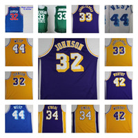 Wholesale blue n orange - 32 Magic Johnson 33 Kareem Abdul Jabbar 34 Shaquille ONeal 42 Artest Worthy 44 Jerry West M&N College Basketball Jerseys Stitched