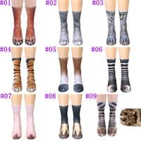 Wholesale Red Paw Print - adults animal Paw feet socks 2018 Unisex Adult Animal Crew Socks 3d print sports socks children digital printing simulation