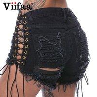 ingrosso jeans scavavano il merletto nero-Pantaloncini di jeans con buco estivo di Viifaa estate 2017 Donna Sexy Lace Up Hollow Out Shorts Shorts Vita alta Nero Corto