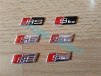 Wholesale Sline S Line Badge - wholesale 100 pcs lot 3D Steering Wheel emblem stickers RS sline s line Badge Aluminum Alloy Car Styling a1 a3 a4 a5 a7 q3 q5 q7 s3 s5