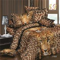 Wholesale Cotton Leopard Sheets - 3D Bedding Sets Leopard Printed Tiger Flowers Queen Size 4Pcs Bedclothes Pillowcases Bed Sheet Duvet Cover Set 29