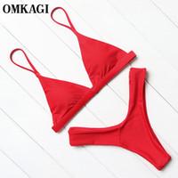 Wholesale grey colour suits - Omkagi Brand Swimwear Women Swimsuit Sexy Push Up Micro Bikinis Set Swimming Bathing Suit Beachwear Summer Brazilian Bikini 2018