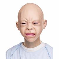 смешные маски лица оптовых-Опора Creepy Baby Полная Голова Латексная Резина Маскарадная Маска Забавная Партия Маски Для Лица Хэллоуин Костюм 2 шт. / Лот