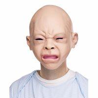 lustige kostüme für halloween großhandel-Prop Creepy Baby Vollkopf Latex Maskerade Maske Lustige Party Gesichtsmasken Halloween Kostüm 2 teile / los