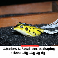 Wholesale Frog Floats - Hot Rubber Ray frog Drag Popper bait 6g 8g 13g 15g Topwater floating Swimming Hollow Body Soft Artificial Lure