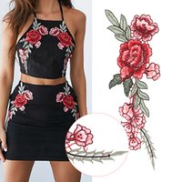 Wholesale Ribbon Embroidery Stitches - HOT 2PCs Embroidery Rose Flower Sew On Patch Dress Hat Bag Jeans Applique Crafts Clothing Accessories DIY