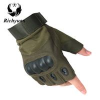 yarım parmak eldiven erkek deri toptan satış-Richyuan Abd Özel Kuvvetler Taktik Eldiven Mücadele Mücadele kaymaz Siyah Yarım Parmak Eldiven Spor Deri Erkekler