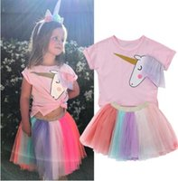 Wholesale t shirt top dress - Baby Girls Unicorn Top T-shirt Rainbow Lace Tutu Tulle Skirt Outfits Dress Set Clothes Girls summer Clothes Set KKA4416