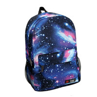 mochilas de galaxias de mujer al por mayor-2017 Harajuku Estilo Galaxy Cosmos Cremallera Lona Mujeres Hombres Mochilas Impresión Bolsas de Escuela Adolescentes Niñas Niños Viaje Mochila Grande