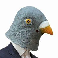máscara de pombo venda por atacado-Máscara de Halloween Pigeon máscara de látex gigante Pássaro cabeça Cosplay Teatro Prop Halloween Party Detalhes no pássaro