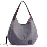 mehrfachtaschen-totes großhandel-Frauen leinwand handtaschen hochwertige weibliche hobos einzelne umhängetaschen vintage solide multi-tasche damen totes versandkostenfrei