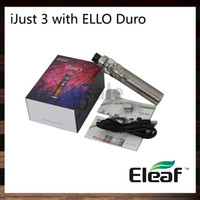 Wholesale led kit red blue - iSmoka Eleaf iJust 3 Kit With 6.5ml ELLO Duro Atomizer 80W 3000mah iJust 3 Battery New HW-M HW-N Coils Four-color LED Indicate 100% Original