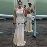 Wholesale cross jacket for sale - Group buy 2018 Beading Light Champagne Prom Dresses Long Mermaid Pageant Dress Sheer Neck Sleeveless Criss Cross Hollow Back Evening Party Gowns