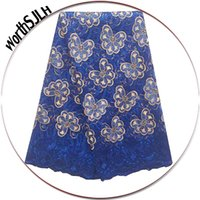 Wholesale Tulle Material Wholesale - 2018 French Lace Fabric High Quality Royal Blue African Net Lace Materials Tulle Embroidery Lace Fabric For Nigerian Dresses