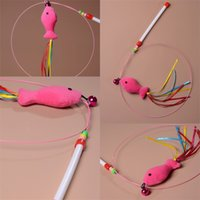 ingrosso gatto rosa caldo-Filo di acciaio Cat Stick Colored Ribbon Pink Modellazione di pesce con menta delicata Campanella Giocattoli Attraente vendita calda 2 2yc V