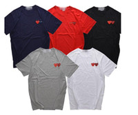 Wholesale Japanese Slimming Shirt - Mens hip hop hoodies summer Japanese tide brand men's women T-shirt cotton short sleeved T-shirt peach 18 new double heart love lovers