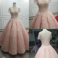 Wholesale Sexy Short Birthday Dresses - 2018 Pink Jewel Neck Ball Gown Quinceanera Dresses Zipper Back Tulle Sweet 16 Prom Dresses Quinceanera Gowns Birthday Party Dresses