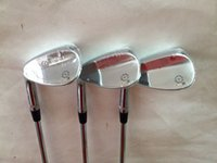 Wholesale Left Handed Golf Clubs - Left Hand SM5 Wedges Silver SM5 Golf Wedge Golf Clubs 52 56 60 Degrees Steel Shaft With Head Cover