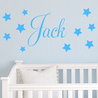 Wholesale personalised wall stickers art resale online - wall decals home decorations adesivo de paredes removable diy wall stickers English words Personalised Stars Child Name Jack