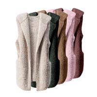 frauen beige jacken großhandel-Womens Vest Winter Warm Hoodie Outwear Lässige Mantel Faux Fur Reißverschluss Sherpa Jacke Womens Weste Winter warme Jacke