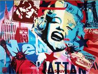 estatuas de pared al por mayor-3D Mural Personalizado Graffiti Wallpaper America Estatua de la Libertad Marilyn Monroe Wall Mural 3D Room Papel de pared para la Sala de estar