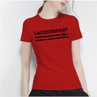polo de líneas al por mayor-Europa y los Estados Unidos nueva línea de salida de cocodrilo mujeres con cuello redondo camisetas de primavera y verano camisas de algodón de tendencia