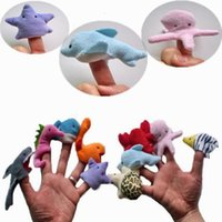 Wholesale hands puppets resale online - Marine soft animal and marine animal style finger puppet baby hand toy puppet cartoon baby story toy T6I007