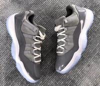 zapatos de fibra de carbono al por mayor-Real Carbon Fibre 11 11s Low Cool Grey Basketball Shoes Men Top Quality 11s Cool Grey Low Sneakers With Shoes Box