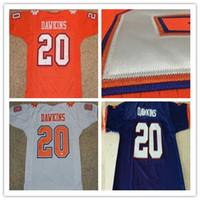 camisa de futebol americano azul venda por atacado-Clemson tigres dos homens jerseys # 20 brian dawkins jersey laranja branco azul americano ncaa colégio de futebol jersey bordados tamanho jersey s-3xl