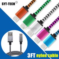 Wholesale Copper Apple - 3FT Type C Cable Fabric Nylon Braided Copper Micro USB Charger for Samsung S8 Note 8