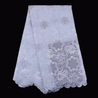 Wholesale White Swiss Cotton Voile Lace - African laces fabrics high quality swiss voile lace white lace fabric with stones 5yards for wedding party