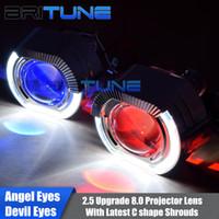 xenon bi projektor linsen großhandel-Upgrade 8.0 Bi-Xenon-Projektor-Objektiv mit C-Form LED Angel Devil Eyes Kit für H4 H7 Autos Scheinwerfer-Nachrüstung mit H1 Xenon-Lampen