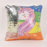 Wholesale cushion foam covered online - Mermaid Sequin Throws Pillows Covers Square Cartoon Unicorn Cushion Cover Reversible Painting Unicornio Pillow Case Hot Sale js XB