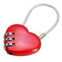 ingrosso sacchetti di funi-NUOVA serratura sincronizzata con password cuore Wire Rope Combination a combinazione di tre lucchetti digitali con lucchetto