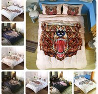 Wholesale tiger bedding king for sale - Animal Printed Bedclothes Horse Bear Wolf Tiger Printed Bedding Set Duvet Set with Pillowcase