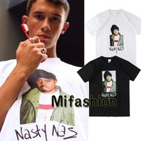 Wholesale Cool Cottons Shirts - 18ss USA Box logo Hip Hop Nasty Nas PHOTO Tee Skateboard Cool Rapper T-shirt Men Women Cotton Casual Tshirt