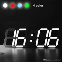 Wholesale Led Wall Watches - New Modern Wall Clock Digital LED Table Desk Night Wall Clock Alarm Watch 24 or 12 Hour Display Snooze Desk Alarm Clock 4 Colors BN888