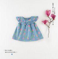 Wholesale knee length sleeveless denim dress - New army style 2018 girls Kids dress 100% Cotton flying sleeveless pink flowers print denim dress causal summer Kids Clothing