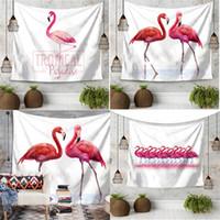 Wholesale decorative hand towels resale online - Beach Towel Superfine Fiber Wall Hanging Cushion Printing Polyester Fiber Decorative Carpets Big Yoga Mat Flamingo Tapestry ma V