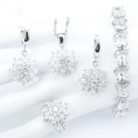 gümüş halkalar doğal taşlar toptan satış-S925 gümüş tasarımcı takı setleri Doğal Beyaz Zirkonya Kadınlar Gelin Takı Setleri Bilezikler Yüzükler Küpeler Ile Taşlar