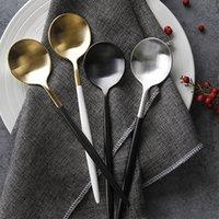 ekolojik dostu çubuklar toptan satış-Çevre Dostu Kore Chopsticks Tatlılar Kaşık Seti Paslanmaz Çelik Batı Kare Chopstick Uzun Tatlı Kaşık bulaşığı Setleri Kulp
