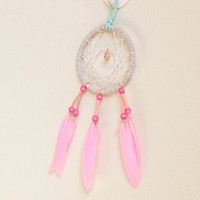 Wholesale Pink Feathers Craft - Creative Dream Catcher Pendant Feather Wind Chime Arts And Crafts Decor Pink Handmade Dreamcatcher 6 8xr C